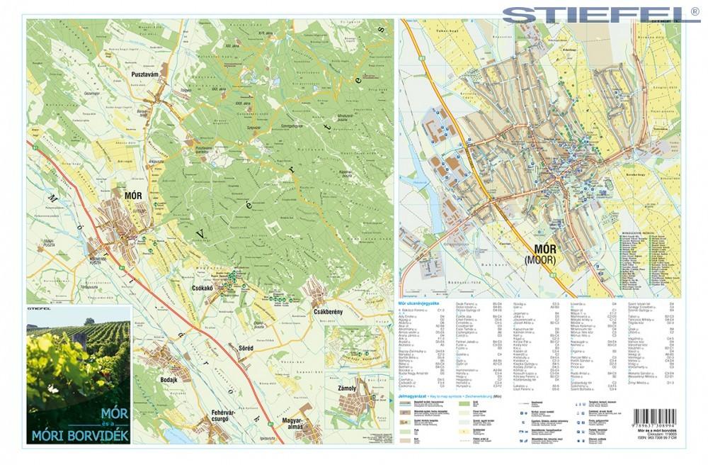 mór térkép A móri borvidék és Mór város térképe hajtogatott, puhaborítós  mór térkép