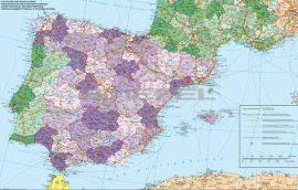 Spanyolország és Portugália postai irányítószámos térképe (fóliás-fémléces)