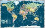 Föld országai térkép trendi színezéssel, fóliás-fémléces. Limitált kiadás!