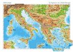 Dél-Európa domborzata kétoldalas poszter
