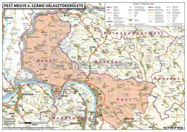 Magyarországi megyék választási térképe egyéni választókerületekként fémléces 100x70 cm, 3 db ajándék könyöklővel