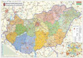 Magyarország közigazgatása a járásokkal térkép matt fóliás-faléces