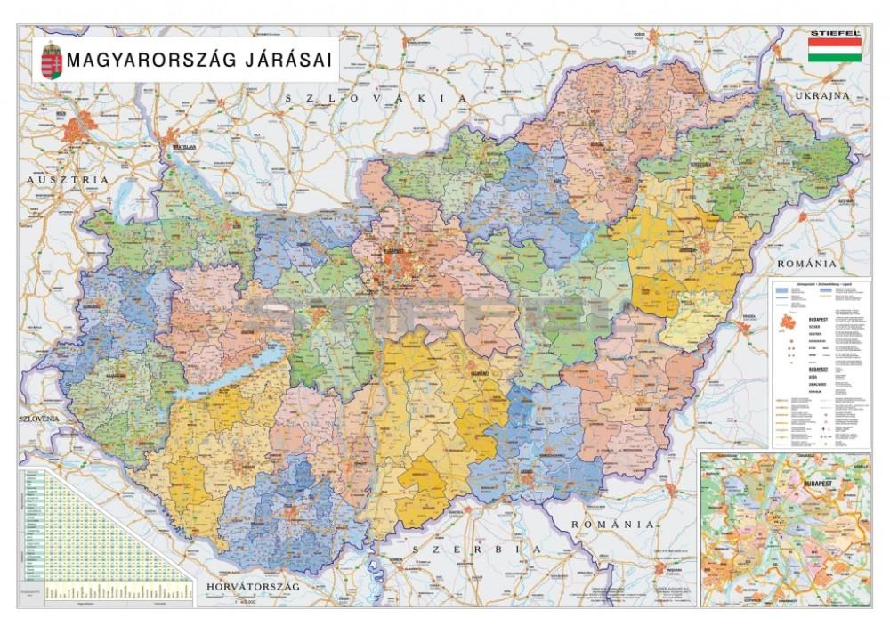 magyarország térkép közigazgatási Magyarország közigazgatási térkép a járásokkal fémléces vagy  magyarország térkép közigazgatási