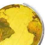 COLUMBUS ROYAL világítós, álló, kristályüveg Földgömb, rozsdamentes acél alappal és meridiánnal