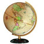 COLUMBUS RENAISSANCE világítós, asztali, akril, antik DUO Földgömb, sötét fa talppal, sárgaréz színű meridiánnal
