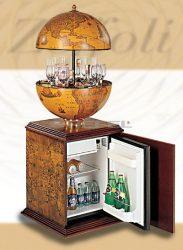 Bárföldgömb hűtőszekrénnyel; antik pác; (a gömb teteje felfele nyitható)
