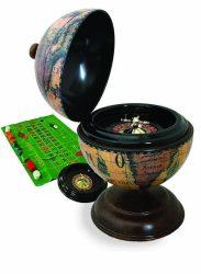 Földgömb asztali antik stílus rulett készlettel