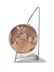 Földgömb asztali VELA natúr bronz gömb plexi váz fém talp
