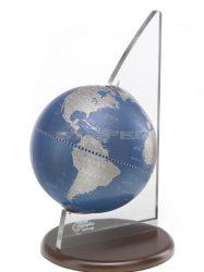 Földgömb asztali VELA kék metál fatalp plexi váz
