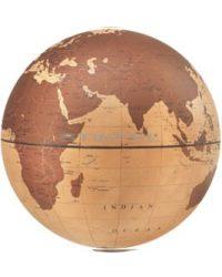 Földgömb asztali VELA fatalp plexi váz natúr bronz gömb