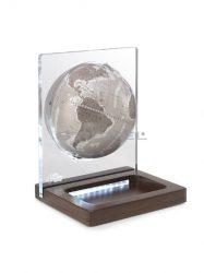 Földgömb asztali ARIA DESK meleg szürke gömb fatalp plexi váz