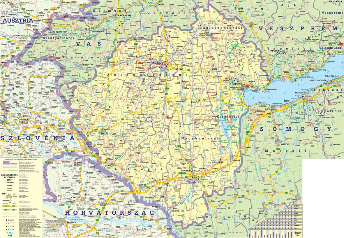 zala megye térkép Választható kivitel: zala megye térkép