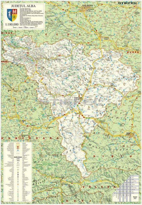 Alba megye (Románia) térképe, tűzhető, keretes