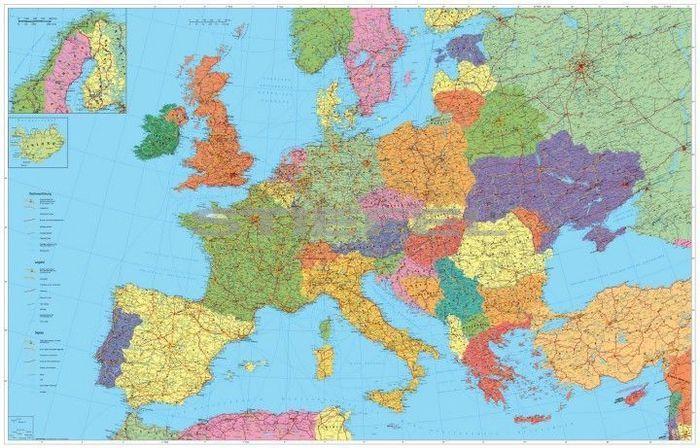 Európa autótérkép (nemzetközi), tűzhető, keretes falitérkép