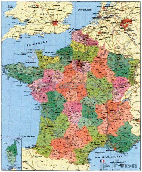 Franciaország megyéi és postai irányítószámos térképe, mágnesezhető, fémkerettel