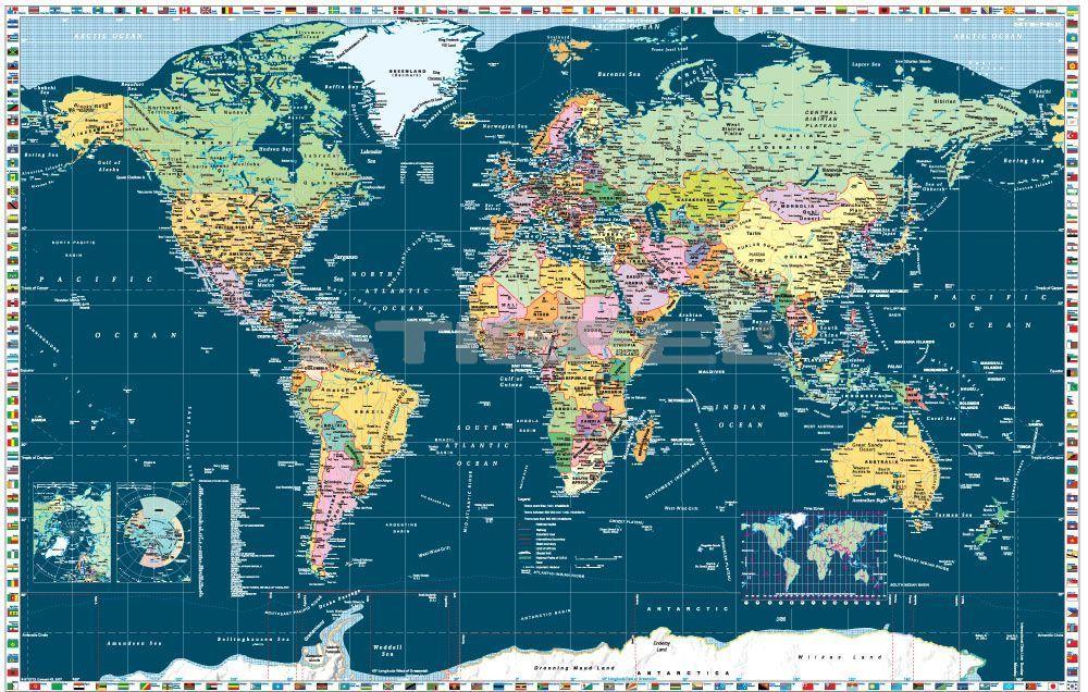 A Föld országai zászlókkal, sötét színű tengerrel, mágnesezhető, fémkerettel