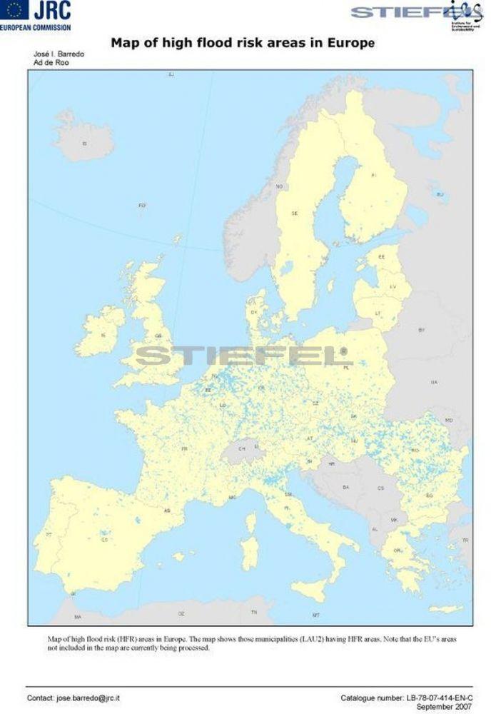 Magas árvízkockázati területek Európában térkép