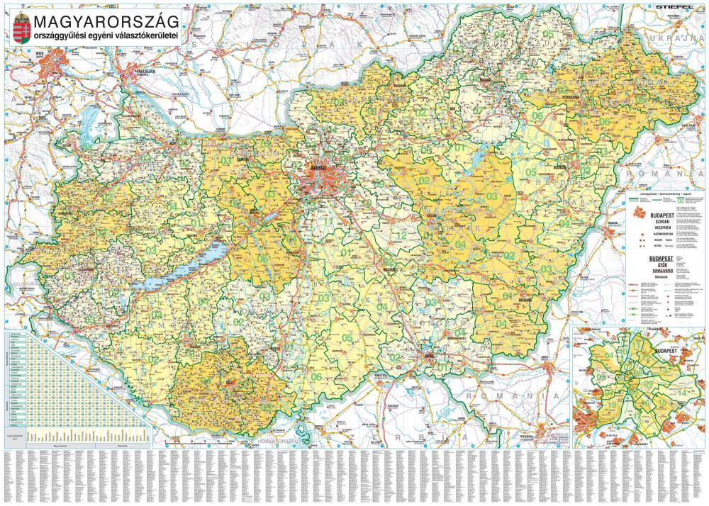 Magyarország országgyűlési választókerületei (2018) keretezett, tűzhető 10 db ajándék könyöklővel