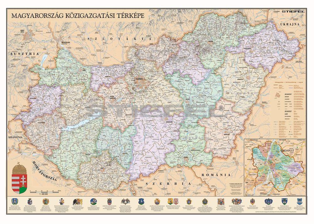 Magyarország közigazgatása a járásokkal falitérkép antik stílusú, mágnesezhető, fémkeretes
