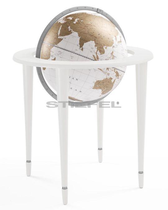 Földgömb AMERIGO VESPUCCI térben elhelyezhető, fehér-arany gömb, fehér fatalp