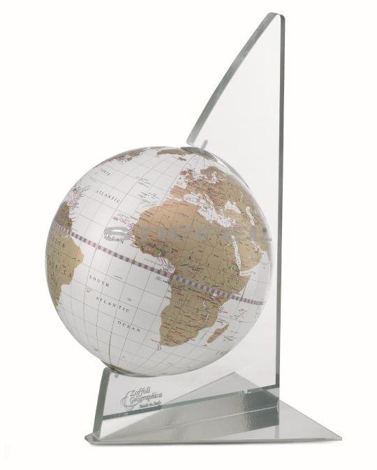 Földgömb asztali VELA fehér metál gömb plexi váz fém talp