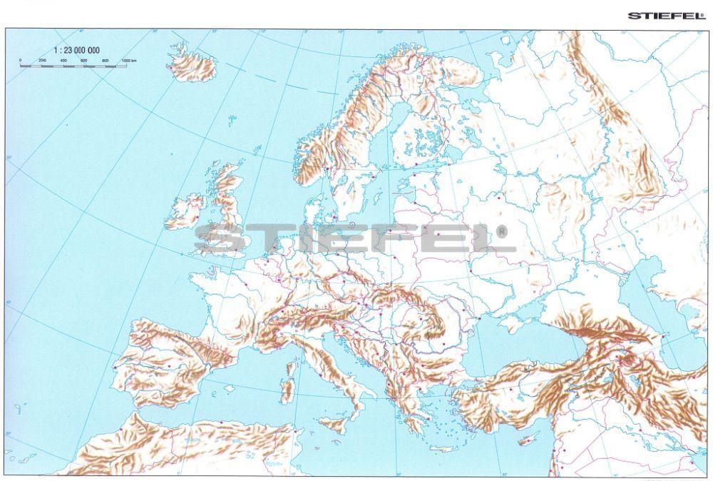 Európa körvonalas munkatérképe
