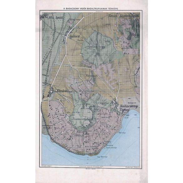 A Badacsony vidék bazaltkúpjainak földtani térképe fakeretben