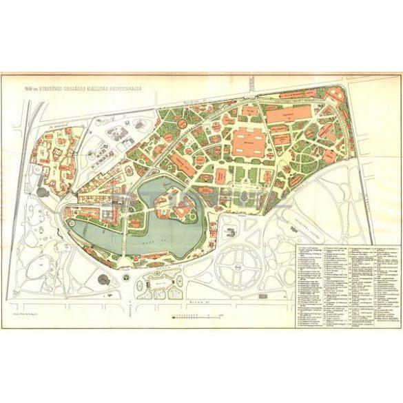 Ezredéves Országos Kiállítás helyszínrajza térkép fakeretben