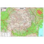 Románia autótérkép fóliás faléces (román nyelvű)