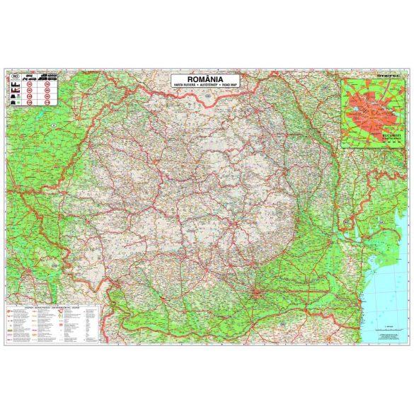 Románia autótérkép (román nyelvű) keretes
