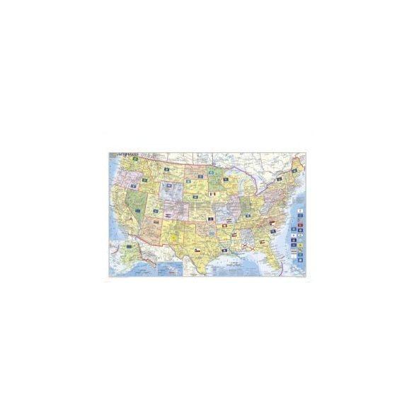 USA politikai térképe, tűzhető, keretes