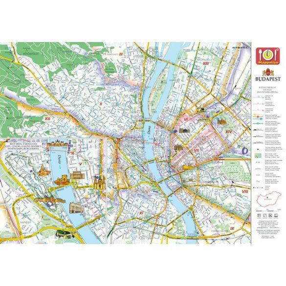 Hősök tere tányéralátét könyöklő + hátoldalon Budapest belváros térképe