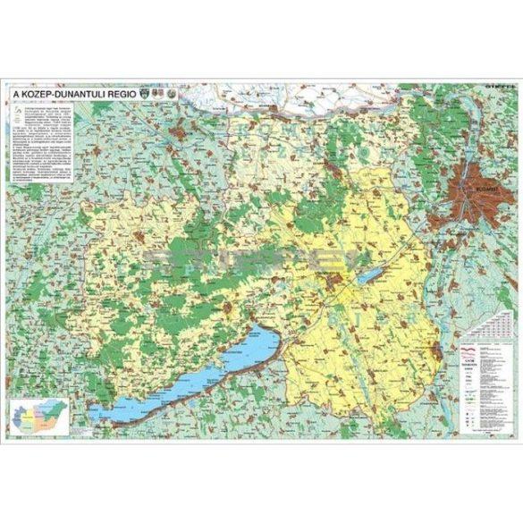 A Közép-Dunántúli régió térképe, fémléces falitérkép