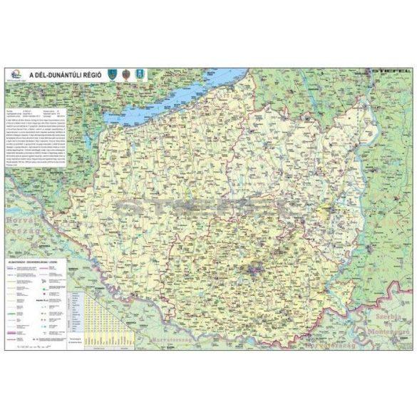 A Dél-Dunántúli régió térképe, fémléces