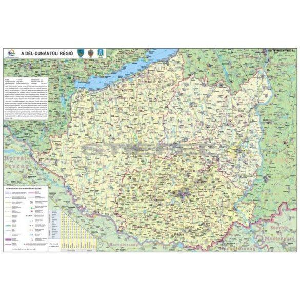 A Dél-Dunántúli régió térképe, tűzhető, keretes