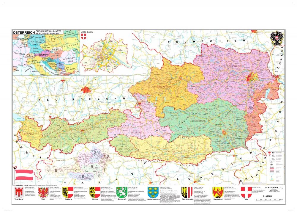 ausztria térkép Ausztria irányítószámos térképe fóliás fémléces