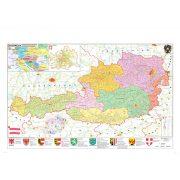 Ausztria irányítószámos térképe, tűzhető, keretes