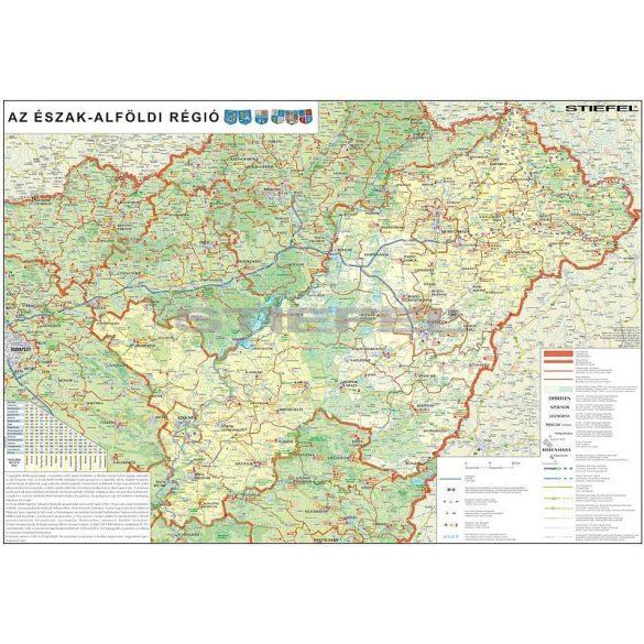 Az Észak-Alföldi régió térképe fémléces