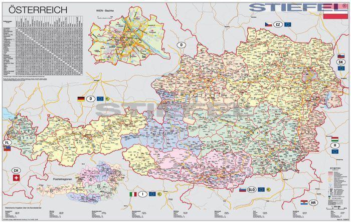 ausztria térkép Ausztria szervező térképe fóliás fémléces