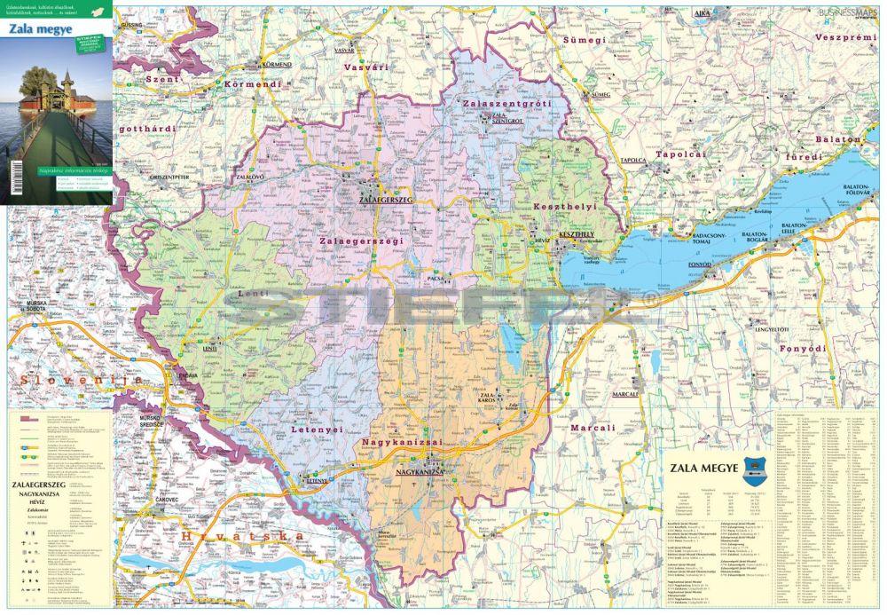 zala megye térkép Zala megye térkép fémléces,fóliázott zala megye térkép