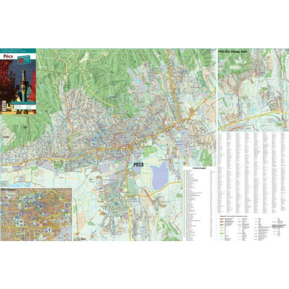 Pécs város térképe, tűzhető, keretes