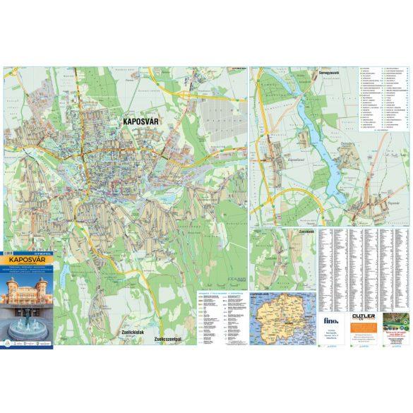 Kaposvár város térképe, tűzhető, keretes