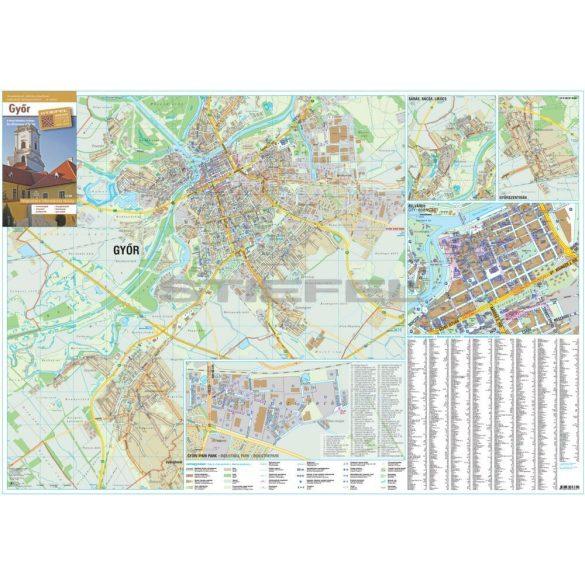 Győr város térképe, fémléces