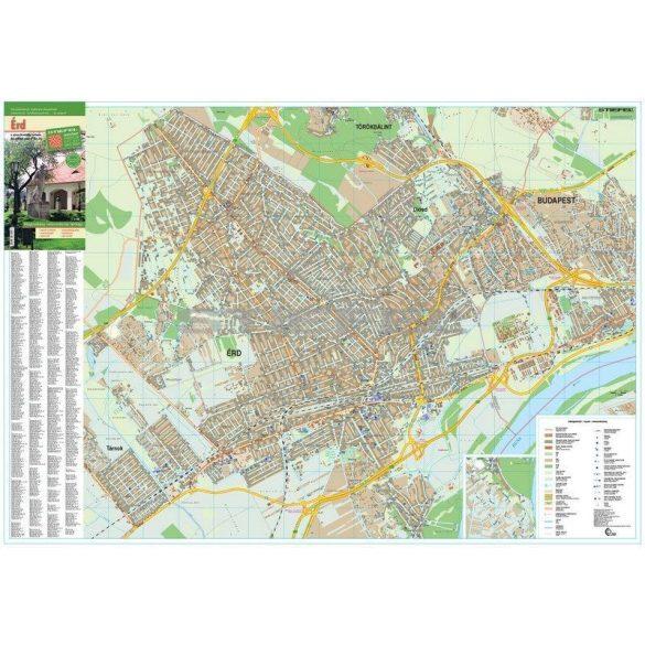 Érd város térképe, tűzhető, keretes