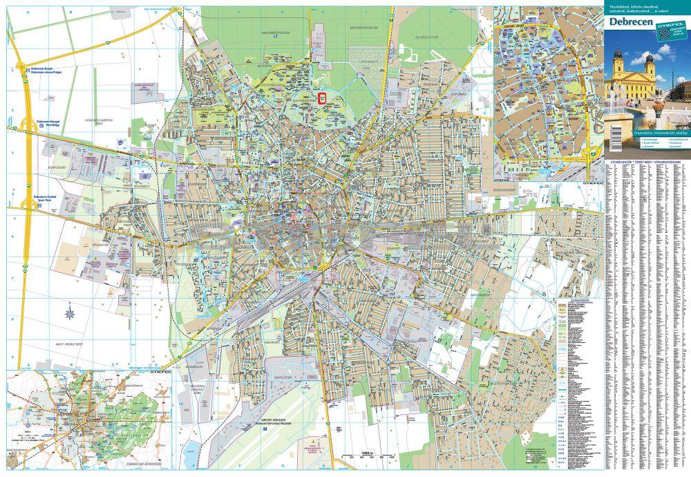 térkép debrecen Debrecen város térképe, tûzhető, keretes