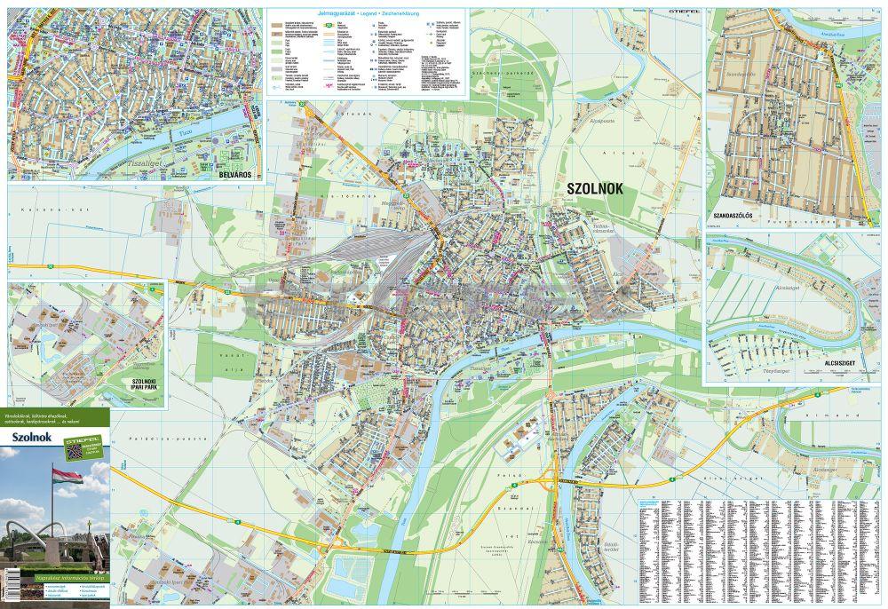 szolnok térkép Szolnok város térképe, fémléces