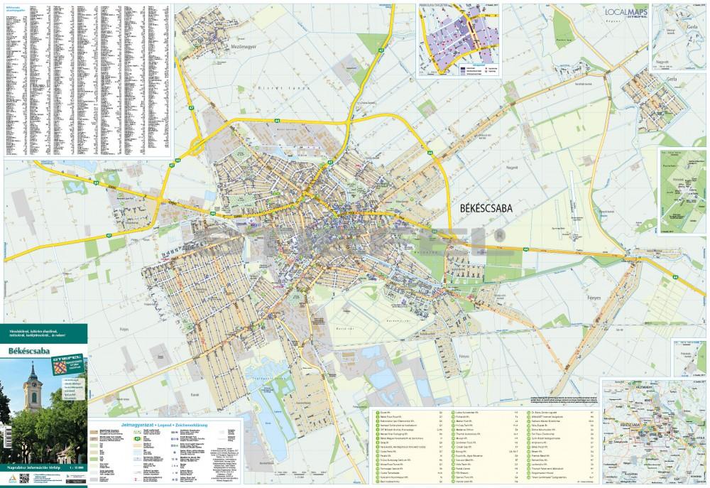 békéscsaba térkép Békéscsaba térkép, fémlécezett békéscsaba térkép