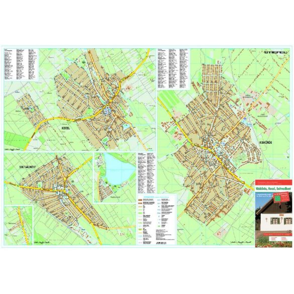 Kiskőrös-Soltvadkert-Kecel várostérkép (hajtogatott, puhaborítós)
