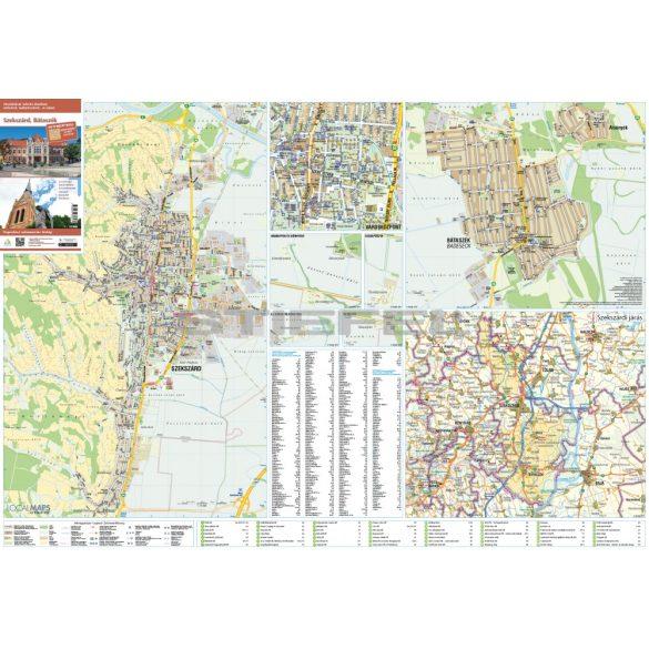 Szekszárd-Bátaszék tűzhető, keretezett várostérképe