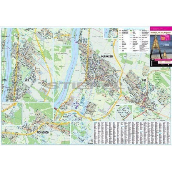 Dunakeszi, Göd, Fót, Mogyoród keretezett térkép